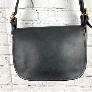 Coach leather black crossbody flap bag